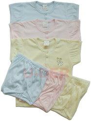素色短袖半排扣套裝