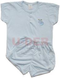 素色短袖半排扣套裝-藍色(blue)