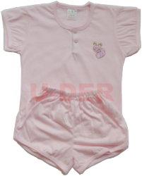 素色短袖半排扣套裝-粉紅色(pink)