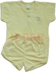 素色短袖半排扣套裝-黃色(yellow)